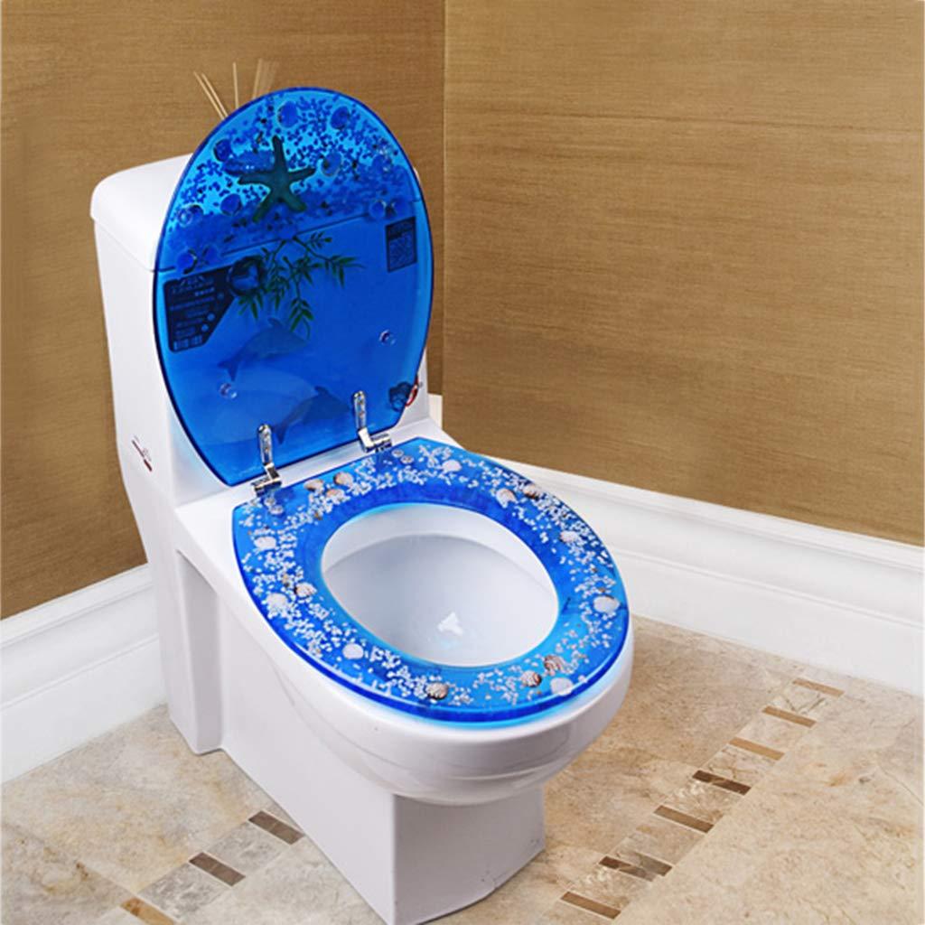 Asiento de Inodoro engrosador Hermoso Asiento de Inodoro Blue Dolphin Starfish Asiento de Inodoro Universal Ovalado est/ándar con Sistema de fijaci/ón Inferior