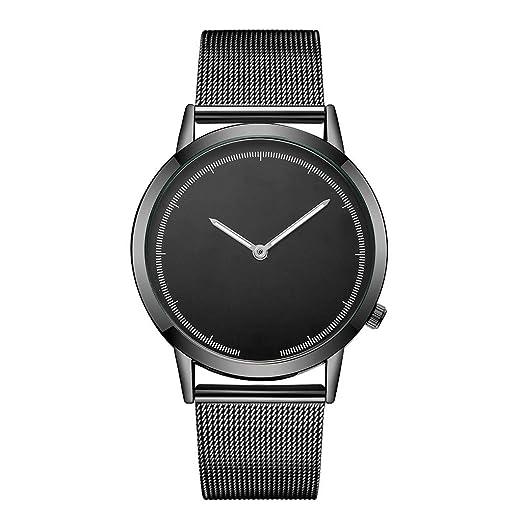 Yivise Reloj Casual para Hombre Banda de Acero Inoxidable Banda de Cuarzo Analógica Moda Pointer Display Reloj de Pulsera(B): Amazon.es: Relojes