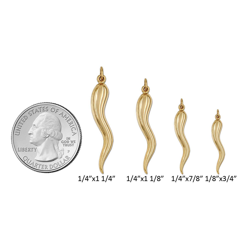 Genuine 14K Yellow Gold Cornicello Horn Good Luck Charm Cornetto Hornlet