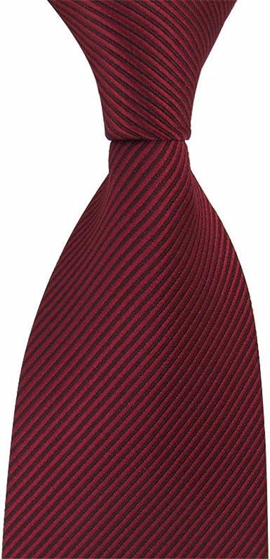 HXCMAN 8cm vino rojo borgoña rayas corbata Diseño clásico 100 ...