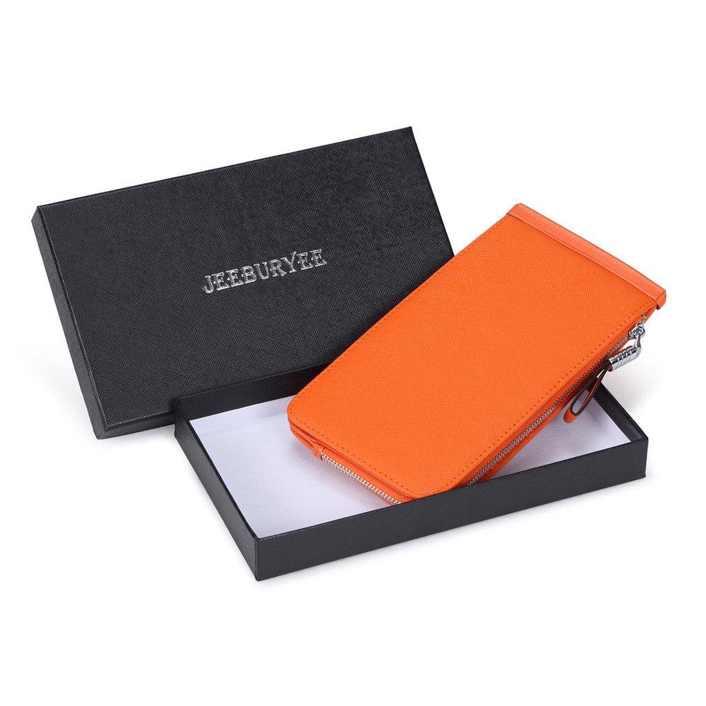 JEEBURYEE Women's Genuine Leather Multi Credit Card Holder Wallet RFID Blocking Long Bifold Clutch Wallet Ladies Purse with Zipper Pocket Orange by JEEBURYEE (Image #7)