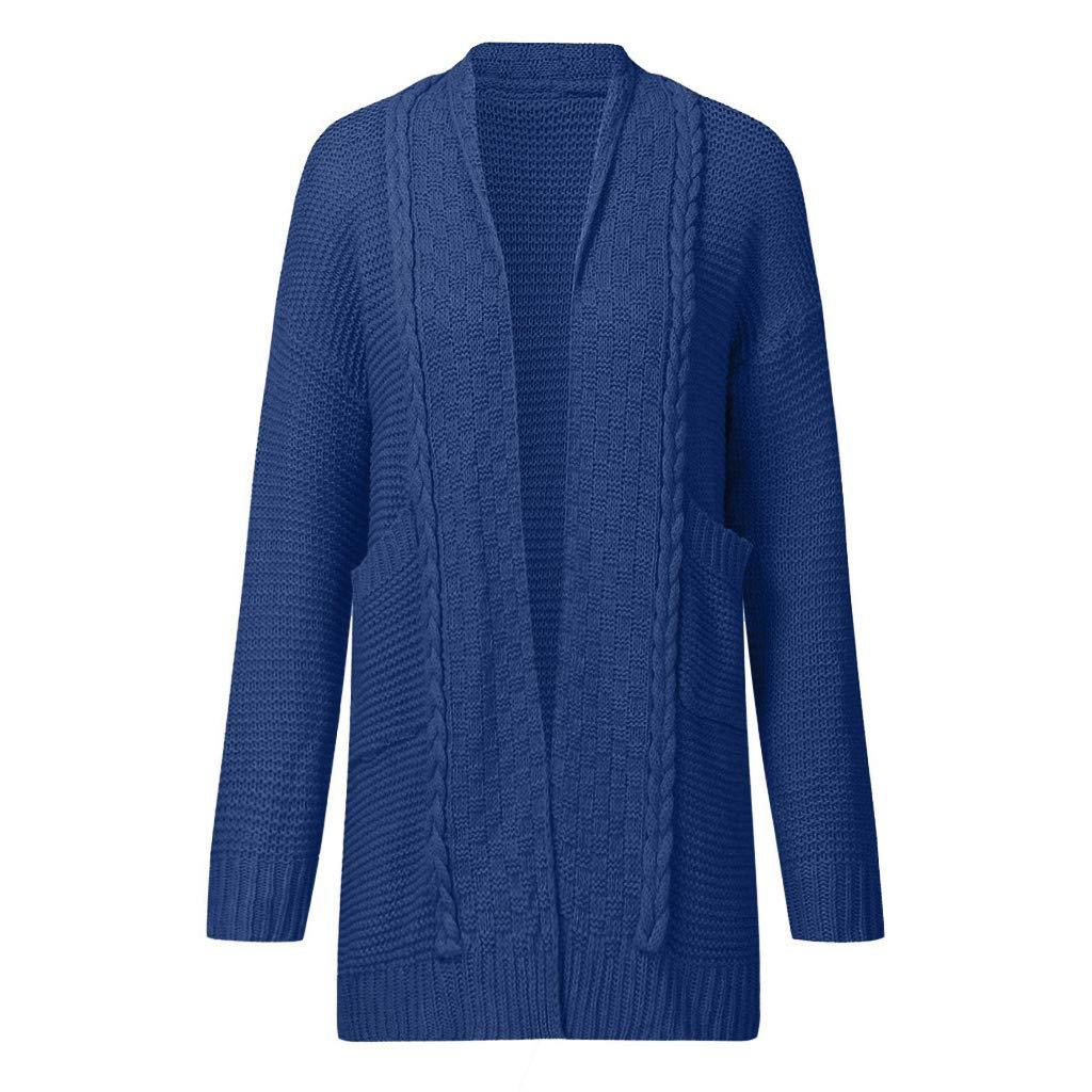 DEELIN Nouveau Mode Casual Femmes Chandail Cardigan Outwear /À Manches Longues L/âche Solide Couleur Tricot Manteau