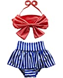 Three Babies Cute Baby Bikini Big Bowknot Stripe 2 Pieces Skirt Swimwear Sets