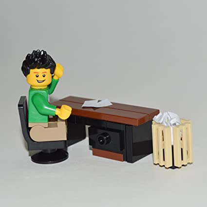 LEGO Furniture: Custom Office Desk Set W/Desk U0026 Chair + Waste Basket