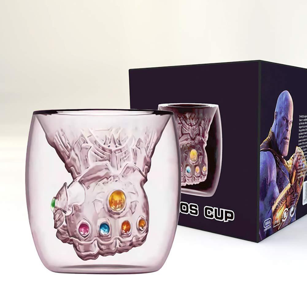 Yinrunx Thanos Infinity Gauntlet Glass Cup Six Energy Gemstones Gauntlet Glass Mugs Avengers Infinity War Gauntlet Coffee Cup,Milk Mugs Gifts for Marvel Lovers