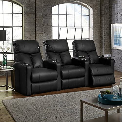 Octane Seating Octane Bolt XS400 Motorized Leather Home Theater Recliner Set Row of 3