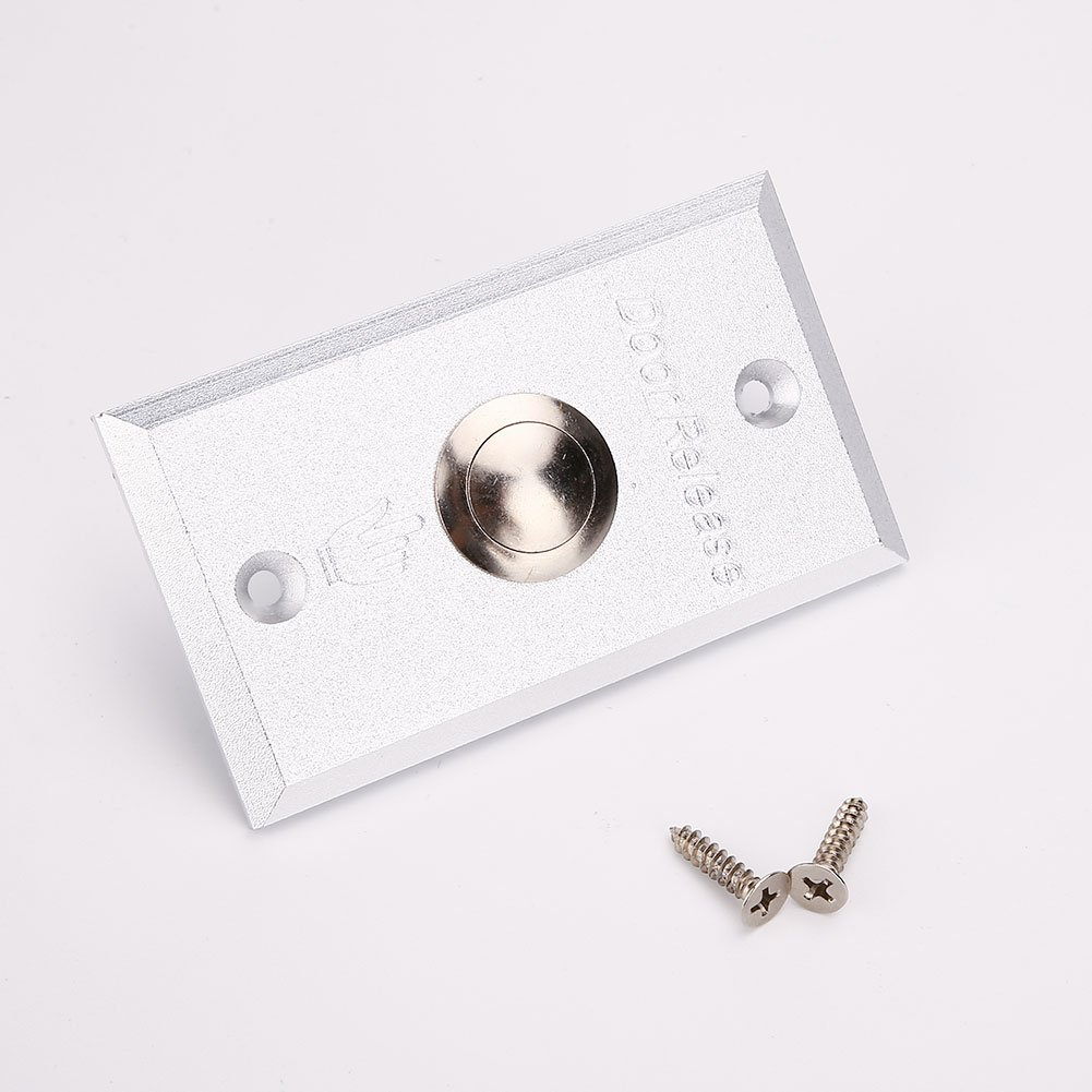 Hanbaili Door Exit Push Release Button Switch Aluminum Silver Over 50000 Times Life For Access Control Terminal