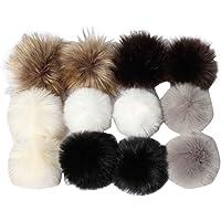 Boule de Pompon Fluffy DIY pour Bonnet Tricoté, BZLine Faux Fox Fourrure De Fourrure pour Vêtements