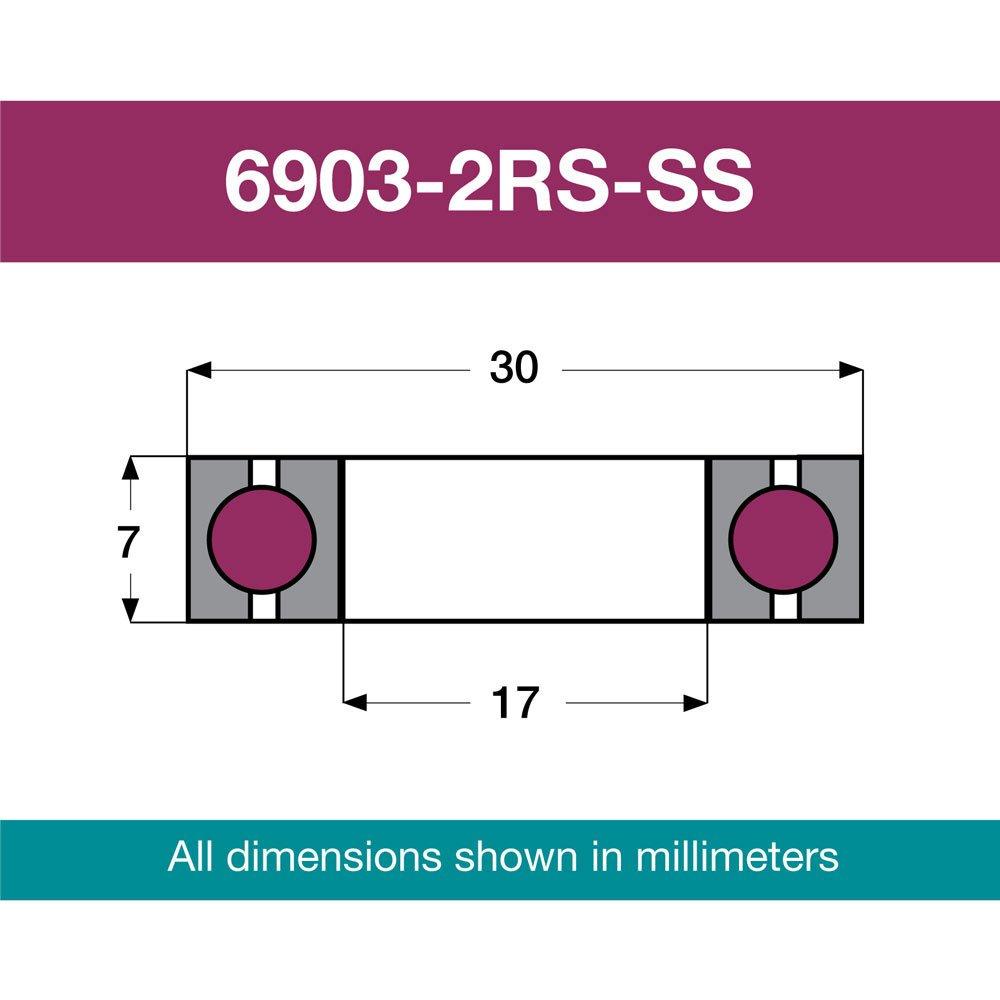 AireVelo Edelstahl Lager 90x90 Winkel 6803-2RS-SS 17x30x7mm