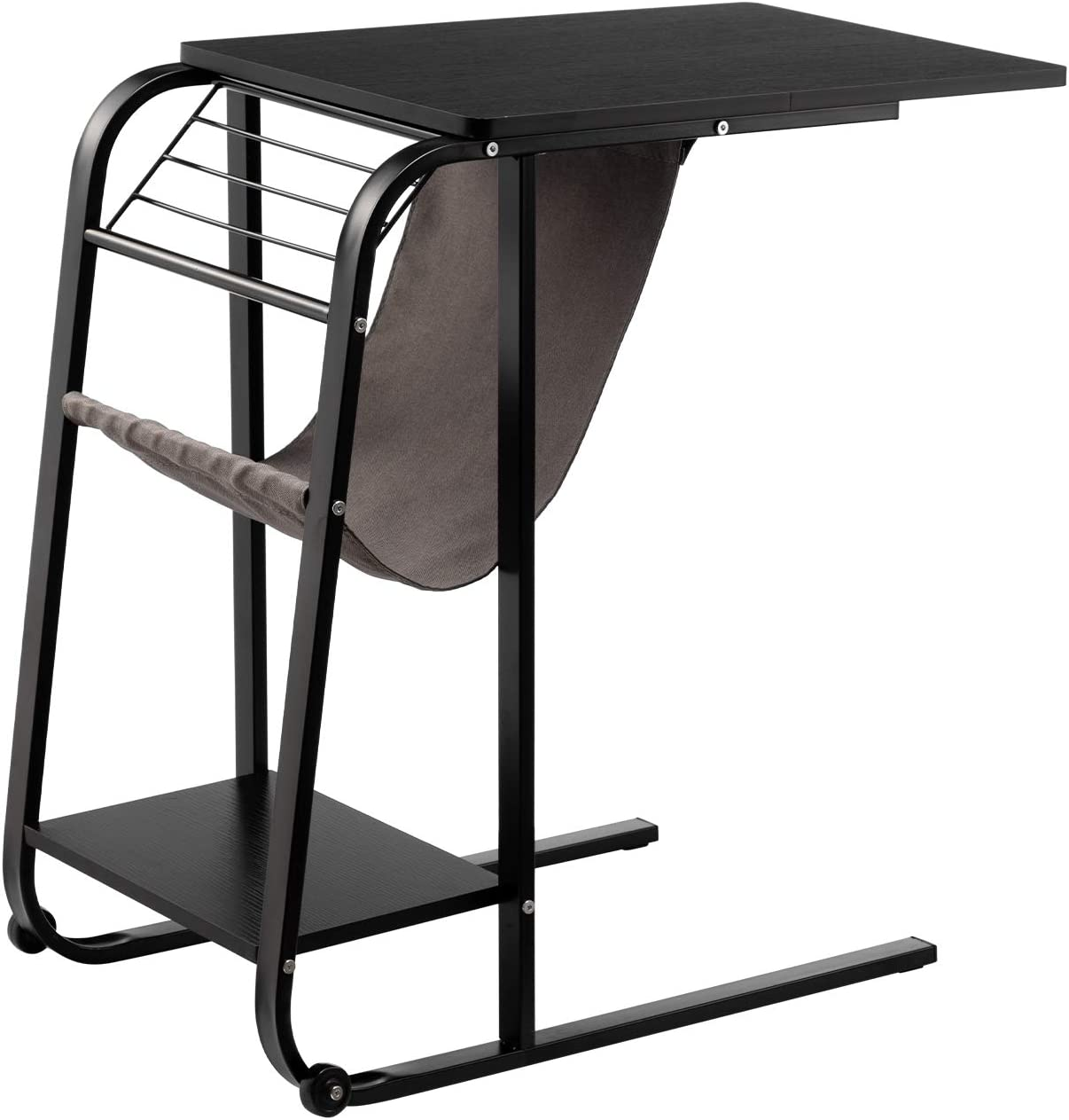 DOEWORKS Side Overbed Table, Black Laptop Desk with Storage, Mobile End Tble, Tary Side Magazine Table