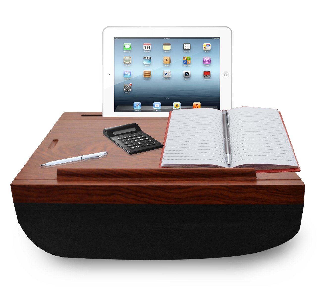 iCozy Portable Cushion Lap Desk With Storage - Dark wood with black by  (Image #1)