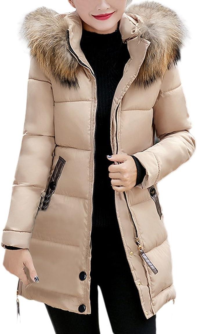 Beikoard Vestiti Donna Invernali Piumini Donna Invernale,Moda Cappotto da Donna con Cappuccio Parka Outwear Caldo e Lungo da Donna(Khaki 2,XXL)