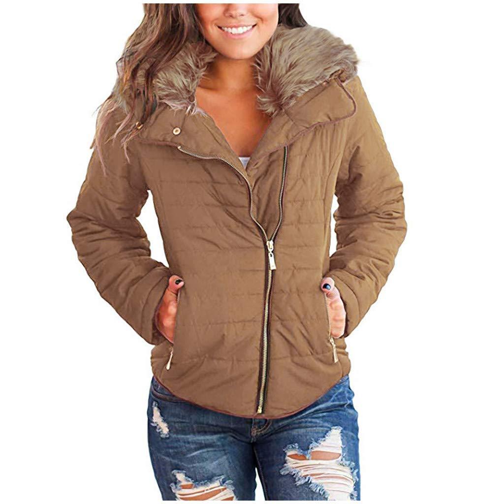 IEason Women Coat Winter Slim Casual Faux Fur Lapel Zip Pockets Quilted Parka Puffer Jacket Brown by IEason Women Coat