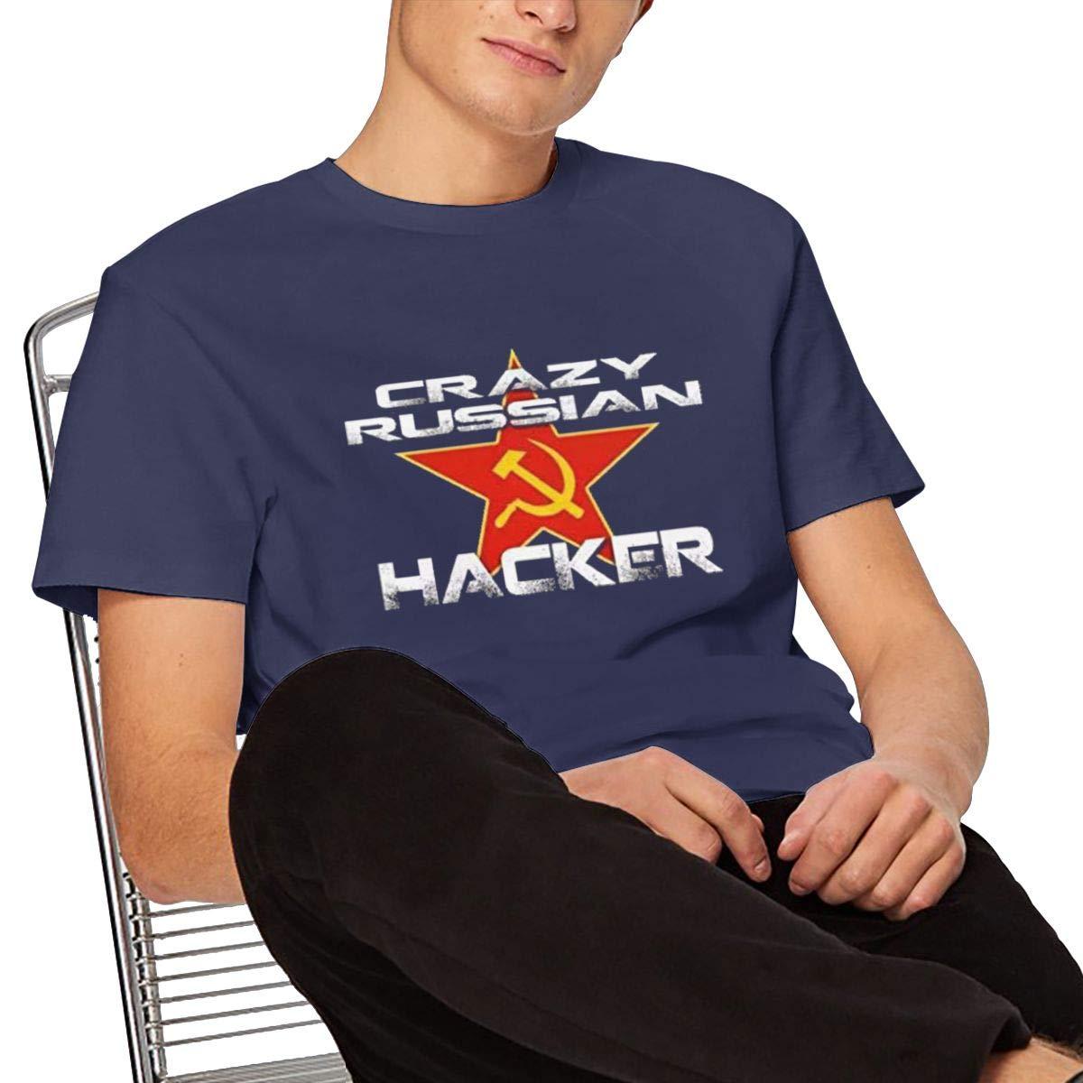 Tiwywln Crazy Russian Hacker Mens Tee Fashion T-Shirt Navy