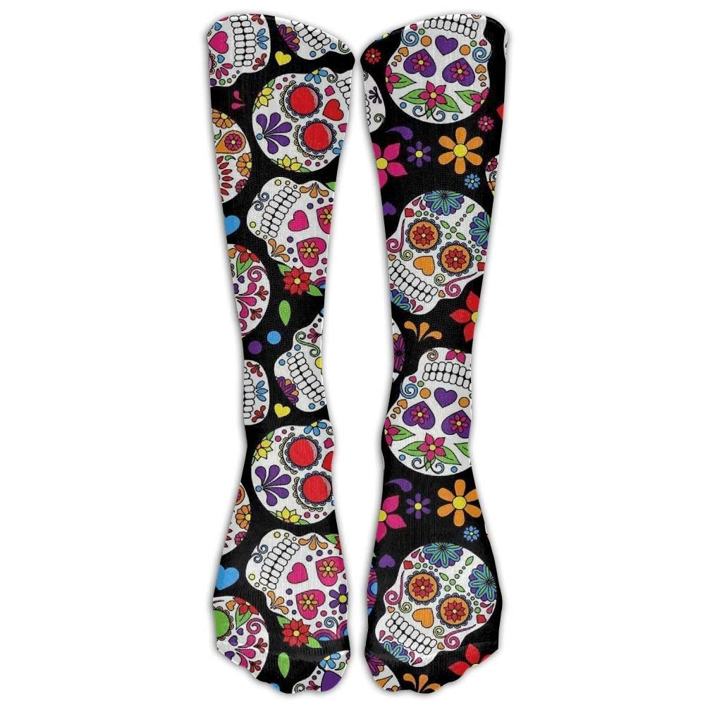 Sugar Skull Unisex Novelty Long Socks Athletic Tube Stockings Size 6-10