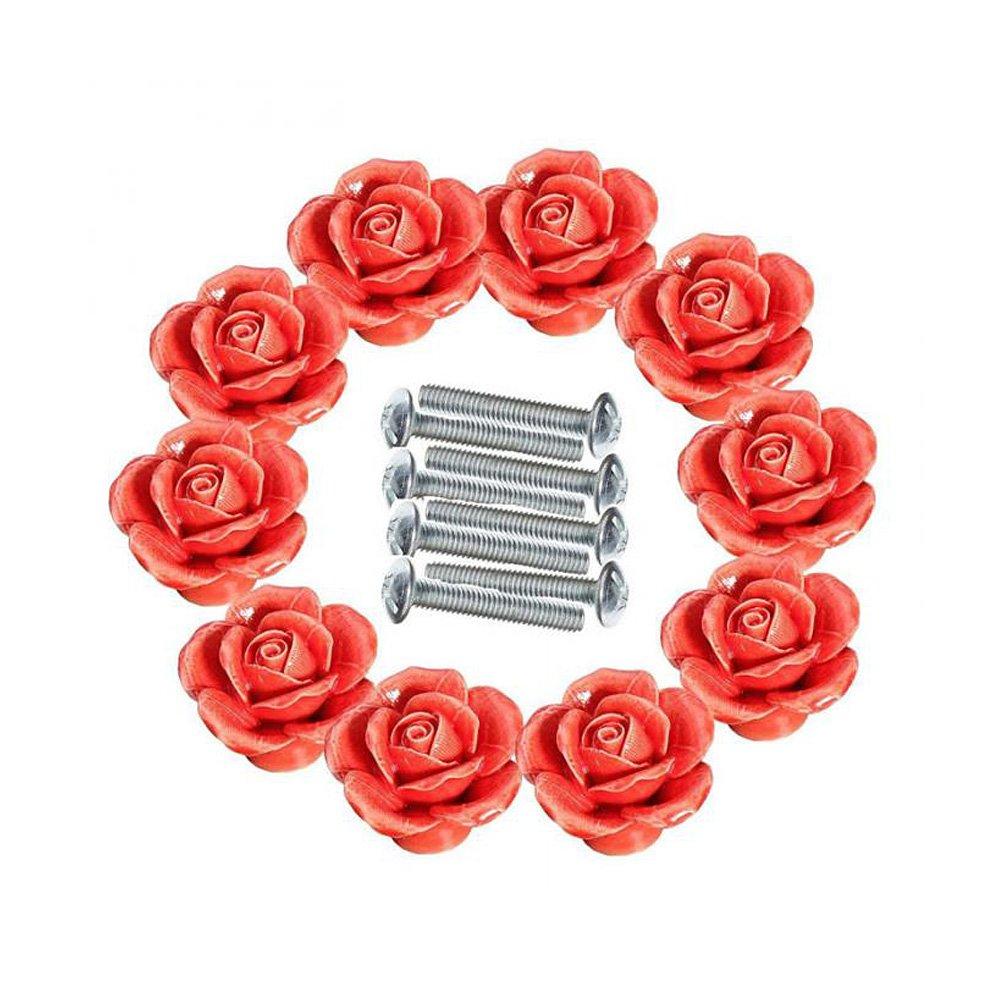 Ya Jin 10PCS Rose Flower Ceramic Kitchen Cabinet Cupboard Pull Handle Knobs with Screw, Purple
