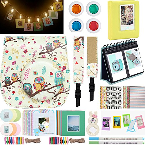 Katia - for Fujifilm Instax Mini 9 or Mini 8 Instant Film Camera. Polaroid Accessories Bundle Plus. Fuji Case Cocoa Owl with Strap/LED String Lights Clip/Album/Frame/Selfie Len/Filters/Stickes from Katia