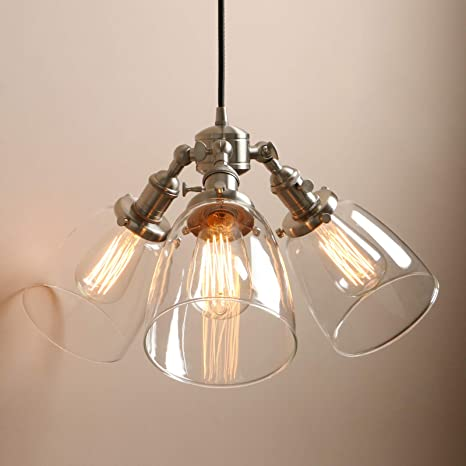 Pathson Industrial Pendant Lighting with Switch, 3 Lights ...