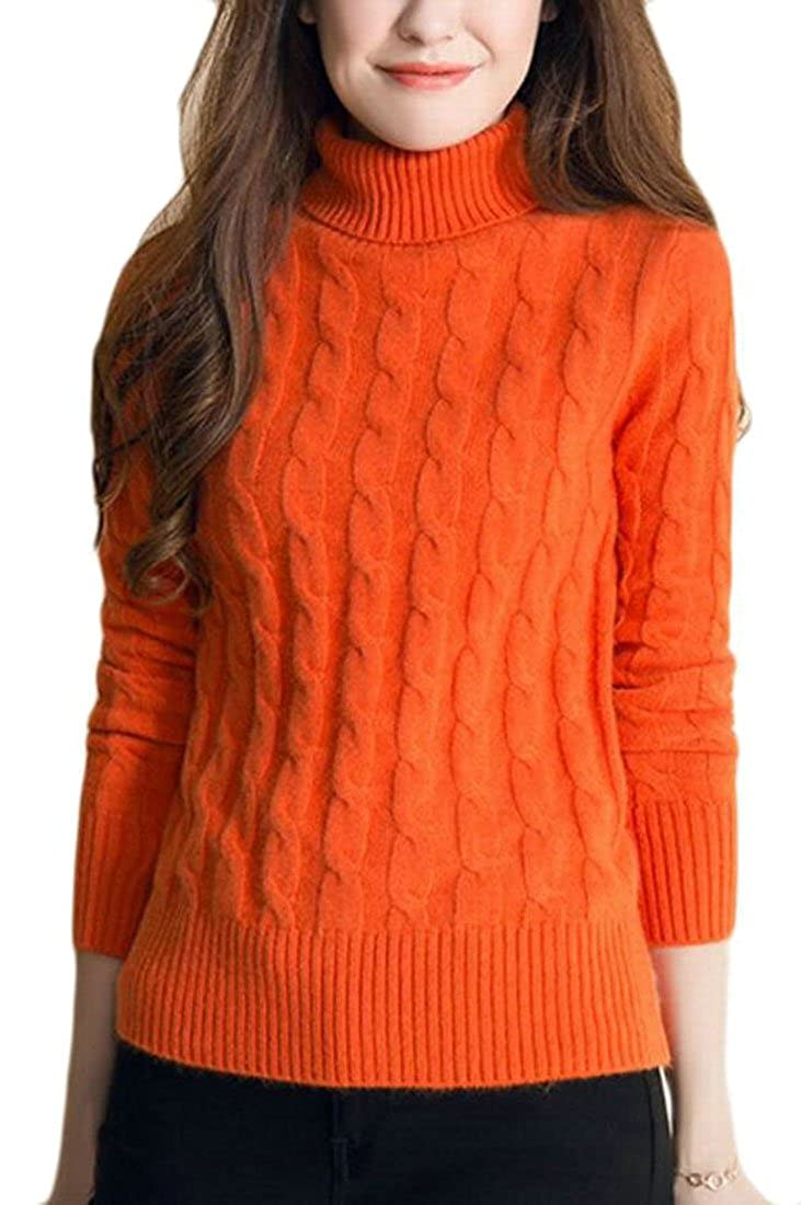 1 GAGA Women's Turtleneck Long Sleeve Solid color Knit Sweter Jumper with Cable Pattern