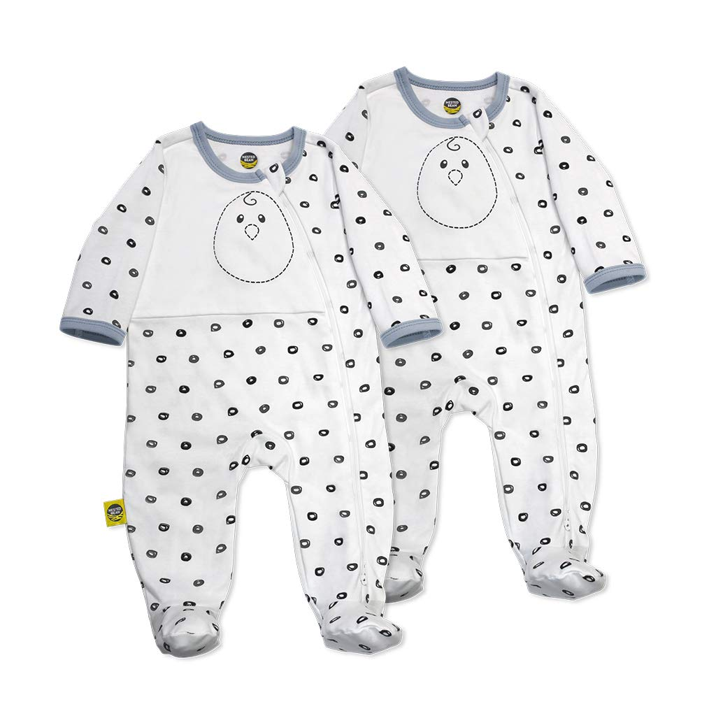 Nested Bean Zen Footie Pajama Classic - Gently Weighted, Long Sleeved, 100% Cotton (3-6 Months, O Me O My - White) (2Pack)