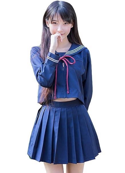 Amazon.com: lucky2buy Mujer Alta Uniforme Escolar japonés ...