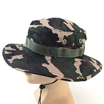 0139246c4c0 Soldmore7 Men Women Camouflage Hat Boonie Fisherman Rounded Sun Protection  Hat Outdoor Climbing Jungle Tactics Cap