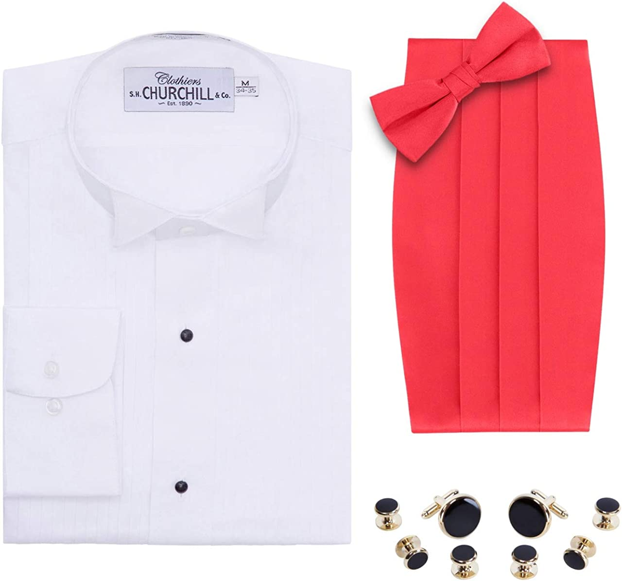 Camisa de Esmoquin con Punta de ala Blanca para Hombre, Pajarita y ...
