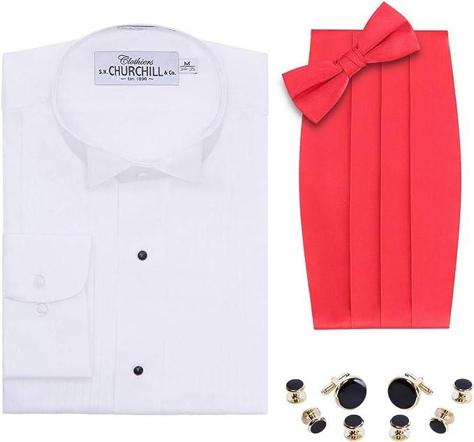 Camisa de Esmoquin con Punta de ala Blanca para Hombre, Pajarita y cornudo, Juego de Pernos Dorados - Rojo - 2XL (18 Cuello 36/37 Manga): Amazon.es: Ropa y accesorios