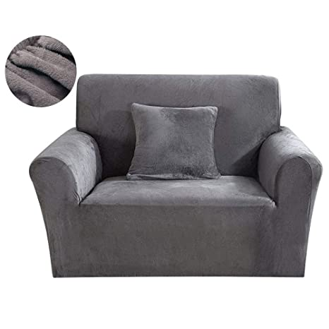 SurfMall Funda de sillón Cubierta de Sofa Elastica Material Terciopelo Grueso poliéster y Spandex Fundas de sofá Suave Resistente (Gris, un Plaza)