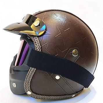 YANGBAO Casco Moto Unisex Casco De Cuatro Estaciones con Gafas De Máscara Casco De Casco De