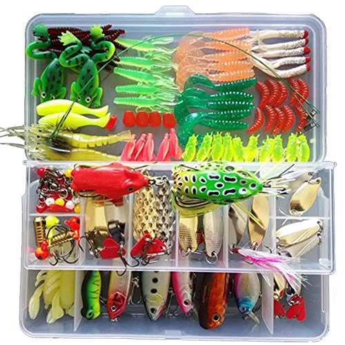 KMBEST Fishing Lure Set Including Spoon Lures, Hard Lures ,Soft Baits And Other Saltwater Freshwater Lures for Fishing With Tackle Box