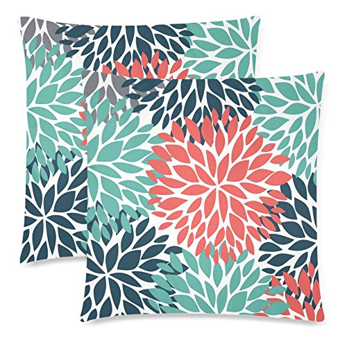 InterestPrint Dahlia Pinnata Flower Teal Coral Gray Cushion Case Protector Pillowcase with Zipper 18x18 Inch Set of 2, Throw Pillow Cover Home Decor
