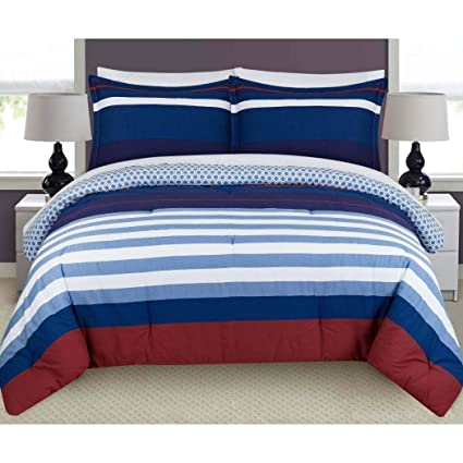 Amazoncom Lm 3 Piece White Navy Blue Red Stripes Duvet Cover Full