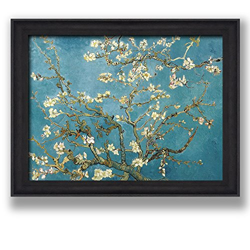 Framed Art Almond Blossoms by Vincent Van Gogh Famous Painting Wall Decor Dark Coffee Brown Frame