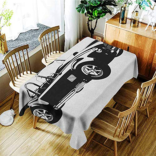 XXANS Small Rectangular Tablecloth,Cars,Silhouette Classic Sport Car Ac Cobra Roadster American Antique Engine Autosport,Table Cover for Kitchen Dinning Tabletop Decoratio,W52x70L Black - Engine Roadster Fire