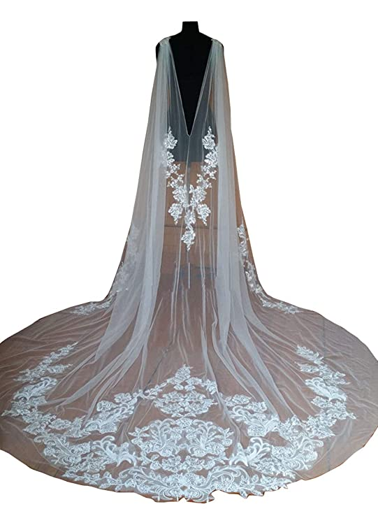 2847881f Wedding Capes Lace Bridal Veils Appliques Bridal Wraps Cathedral Length  Wedding Cloak
