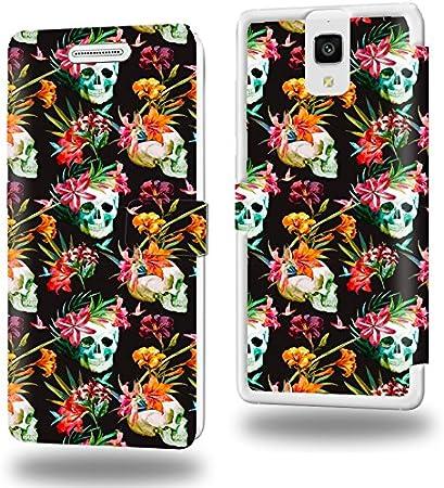 Tête de mort skull Floral Collection Pattern Funda de Cuero para Xiaomi Mi4 Flip Case Cover (Estuche) PU Cuero - Accesorios Case Industry Protector