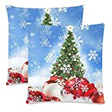 InterestPrint Christmas Tree with Snowflake Pillow Case Cover 18x18 Twin Sides for Couch Bed, Christmas Decor Theme Zippered Throw Pillowcase Shams Decorative, Set of 2