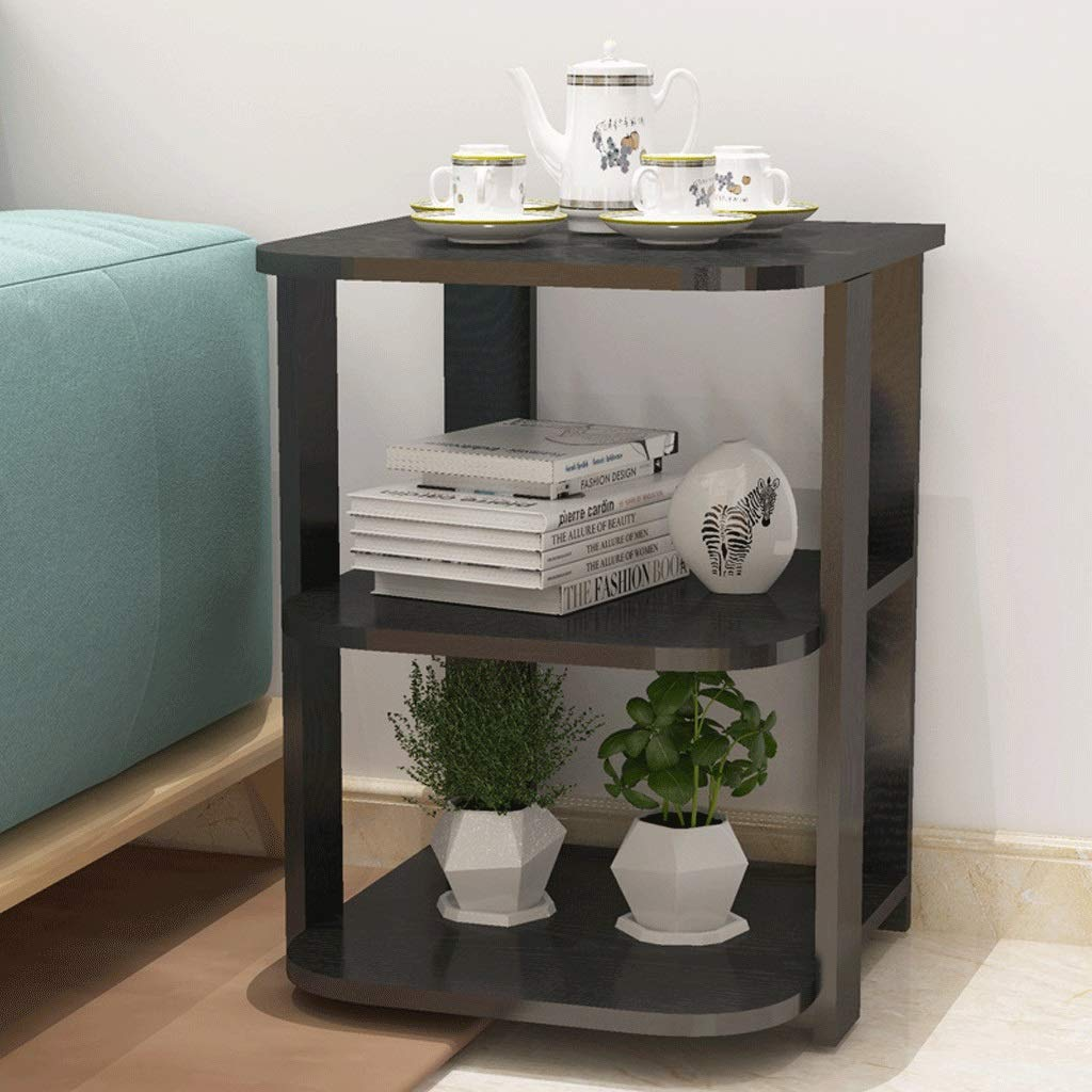 Coffee Table Workbench Flower Stand Shelf Living Room Sofa Side Table Bedroom Office Wood Black (Color : Black) by Small table