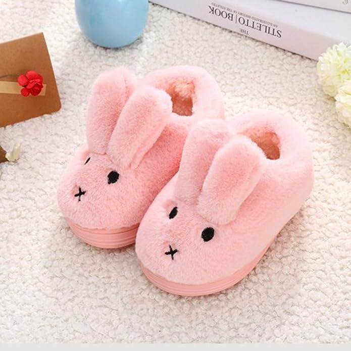 LaoZan Girls Cute Rubbit Slipper Winter Plush Indoor Shoes Warm Cartoon  Slippers Pink 26/27: Amazon.co.uk: Shoes & Bags