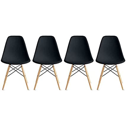 Nicer Furniture Set Of 4 Black Eames Style Side Chair With Natural Wood  Legs Eiffel Dining