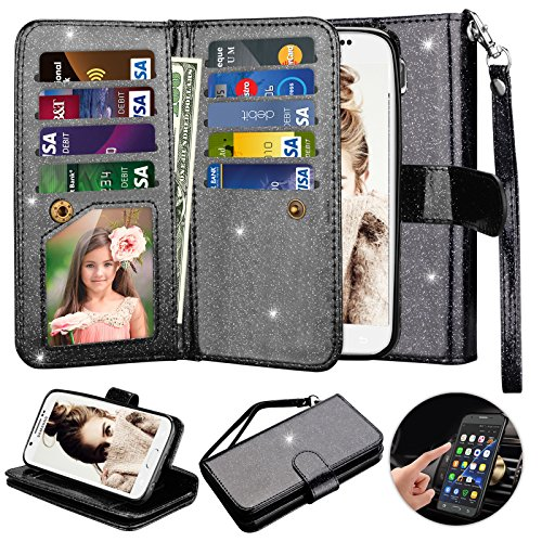 Galaxy S6 Case, S6 Wallet Case, Njjex [9 Card Slots] Shimmering Powder PU Leather Protective Flip Cover [Detachable] [Kickstand] & Wrist Strap For Samsung S6 S VI G9200 GS6 All Carriers - Black (Galaxy S 5 Sprint Used)