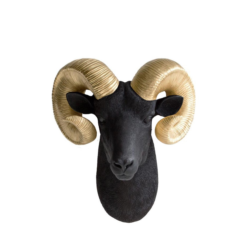 Wall Charmers Ram Head Faux Black + Gold Fake Ceramic Animal Decorative Resin Replica Taxidermy Plastic Antler Mounted Sheep Horn