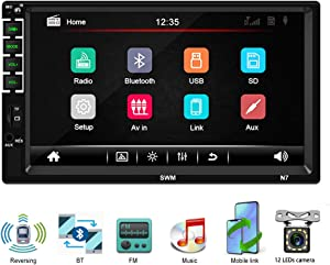 Car Stereo with Bluetooth Double Din 7 inch Touch Screen Digital Multimedia Car Radio in-Dash Auto Radio MP5 Player Support FM/AUX in/USB/SD, Steering Wheel Control, Mirror Link with Back Camera