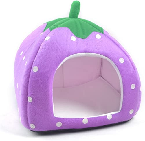Vedem Pet Portable Strawberry Fleece House Bed for Dog Cat Rabbit Hamster Guinea-Pigs