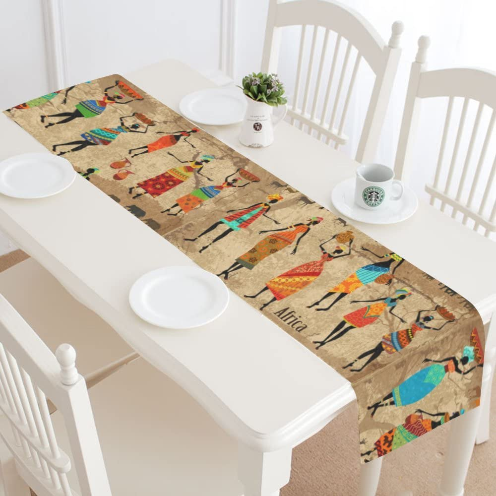InterestPrint Vintage Tribal Beautiful African American Women Table Runner Linen & Cotton Cloth Placemat Home Decor for Kitchen Dining Wedding Party 16 x 72 Inches