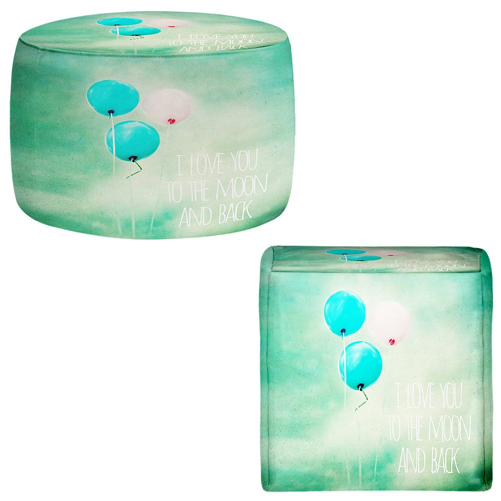 Foot Stools Poufs Chairs Round or Square from DiaNoche Designs by Sylvia Cook - I Love You to the Moon