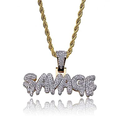 e1c227e62 HECHUANG Micropave Simulated Diamond Iced Out Custom Bubble Letters Savage Dripping  Initial Pendant with Rope Chain