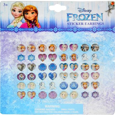 Disney Frozen Girls 24 Pair Sticker Earrings (Pack of (Snow Princess Halloween Makeup)