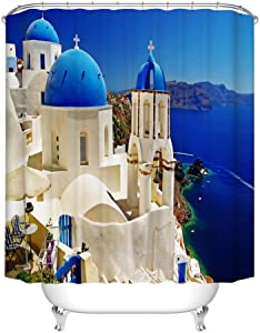 Fangkun Custom Waterproof Bathroom Shower Curtain - Polyester House Decor with View of Classical Church with Blue Domes Oia Santorini Greece - 12pcs Shower Hooks